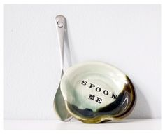 Funny SPOON ME spoon rest with silly teaspoon - mint green metal handmade pottery spoonrest miniature plate - holiday sale. $14.45, via Etsy. by laura