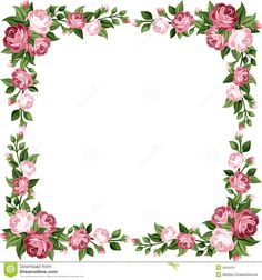 Vintage Frame With Pink Roses Stock Image
