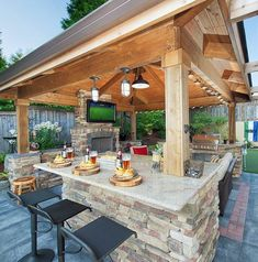 37 Stunning Gazebo Decorating To Make Your Backyard. Install an outdoor gazebo and revel in your backyard like you can't ever have before. If you think that your backyard is too open to curious onlookers. Outdoor Decor, Backyard Design, Outdoor Kitchen Design, Patio Design, Outdoor Fireplace, Gazebo Bar, Backyard Kitchen, Outdoor Design, Outdoor Kitchen Countertops