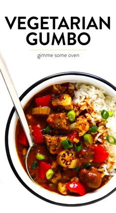 Vegetarian Gumbo recipe is easy to make, it's made with LOTS of hearty veggies, and full of the best zesty Creole flavors. Feel free to serve this gumbo recipe over rice, quinoa, noodles or whatever sounds good! Veggie Recipes, Gourmet Recipes, Vegetarian Recipes, Cooking Recipes, Healthy Recipes, Vegetarian Dinners, Soup Recipes, Gumbo Recipes, Baby Recipes