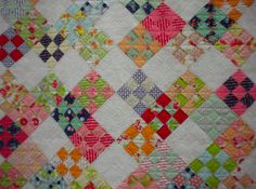 Love the layout of the nine patch, wonderful Moda Scrappy quilt