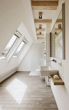 Start with simple room design ideas before you delve in too deep. There are plenty of simple room design ideas which you can incorporate into any room of your house. Small Attic Bathroom, Loft Bathroom, Modern Master Bathroom, Grey Bathrooms, Modern Bathroom Design, Bathroom Layout, Bathroom Ideas, Bedroom Small, Bedroom Modern