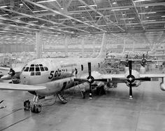 Photo: This Day in Aviation History November 9th, 1944 First flight of the Boeing C-97 Stratofreighter.  The Boeing C-97 Stratofreighter is a long-range heavy military cargo aircraft developed from the B-29 and B-50 bombers. Design work began in 1942, with the prototype's first flight being on 9 November 1944, and the first production aircraft entered service in 1947. Between 1947 and 1958, 888 C-97s in several versions were built, 811 being KC-97 tankers. C-97s served in the Berlin Airlift…