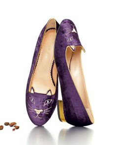 The Ken Downing Gift Collection - Charlotte Olympia Kitty Crystal-Eye Velvet Cat Slipper, Purple