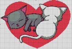 Kittens in a heart x-stitch