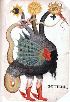 Monster - Python [Mercurius as three-headed dragon.]    German, circa 1600. Man-bird-snake with red mid-calf boots.