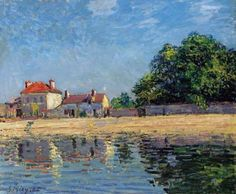 Alfred Sisley (British, born and resided in France most of life; Impressionism, 1839–1899): Bords du Loing, Saint-Mammès, 1885. Oil on canvas