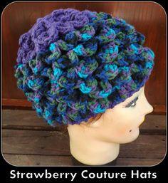Crochet Hat Crocodile Stitch Hat in Peacock Blue