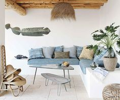 A modern Mediterranean-style holiday beach house has come to life with the guiding light of its creative owners in Ibiza. Decor, House, Mediterranean Style, Interior, Beach House Decor, Home Decor, Built In Sofa, Art Deco Home, Mediterranean Decor