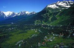 An aerial photo of the hippie ski resort town of Girdwood, Alaska .... ONE pretty HOUR's drive from Anchorage with glaciers and a wildlife park down the road