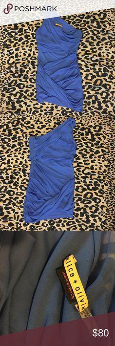Alice & Olivia goddess wrap dress One shoulder asymmetrical wrap dress, like new. Alice + Olivia Dresses Mini