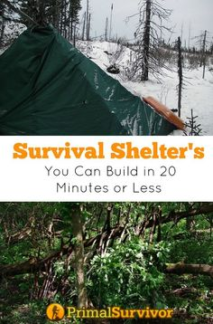 7 Survival Shelter Designs You Can Build in 20 Minutes or Less. I've spent a lot of time learning how to build survival shelters for various situations: getting lost in the wilderness, surviving a nuclear disaster, for extreme cold… There are a lot of these survival shelter designs on the web, but I've got a major problem with most of them: they take a long time and/or a lot of resources to build. Let's be realistic here. In most survival situations, you aren't going to have 10 hours to…