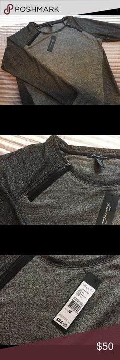 Silver and black Kenneth Cole shirt Silver and black Kenneth Cole shirt with zipper detail.  Never worn.  NWT! Kenneth Cole Tops Blouses