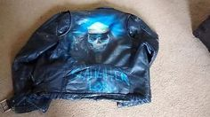 Dallas Leathers by Chrome Specialties Coat size 40 Airbrushed Punk Skeleton