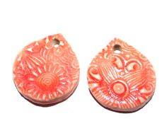 Ceramic Earring Pair Charms Handmade Textured Coral by Grubbi
