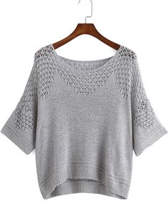 Grey Round Neck Hollow Knit Sweater 17.33