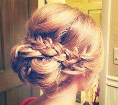#blonde #braid #hairdo #bun