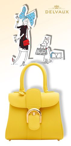 Delvaux Brillant Mini yellow leather handbag The-Story-of-Madame-Page