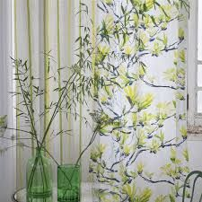 Imagining an earthly paradise, this grand printed floral shares delightful spreading magnolia flowers with inky graphic branches, printed on cotton satin. Magnolia Flower, Shangri La, Designers Guild, Chair Upholstery, Floral Fabric, Acacia, Slipcovers, Fabric Design, Curtains
