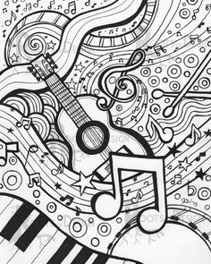 Instant Music Downloadable Print. This beautiful and detailed zentangle inspired, doodle art, design was hand drawn and turned into a print for your