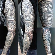 Egyptian Hieroglyphics Men's Tattoo