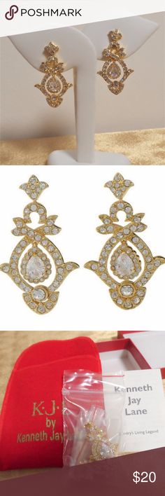 """Kenneth Jay Lane Wedding Rhinestone Drop Earrings Kenneth Jay Lane KJL Wedding Day Earrings Gold Tone Dangle Rhinestone QVC No gold tone loss, ear backs are clear. These earrings have a little weight to them, and they are """"mobile"""" in the sense that the large pear shape stone does move.  Box and earrings are in gift-giving condition.   Highly polished Posts and clutches, for pierced ears only Measures approximately 1-3/4""""L x 1""""W Made in China Kenneth Jay Lane Jewelry Earrings"""