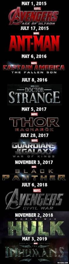 Here are the rumored, upcoming #Marvel  movies. can't wait! I'll be able to see 4 of these for my birthday =D and I'm totally going to see the midnight premiere of Age of Ultron!