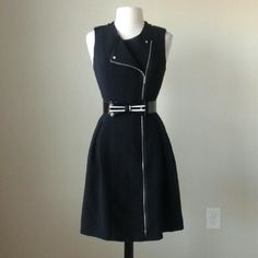 Iconic artist moto zip fit flare dress Fit and flare silhouette,  grosgrain epaulets at shoulders,  fully lined, full length exposed zipper, 95% polyester,  5% spandex,  Bow belt not included,  bust 42 inches, waist 35 inches, length 39 inches White House Black Market Dresses Midi