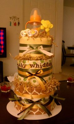 Lion King themed diaper cake.