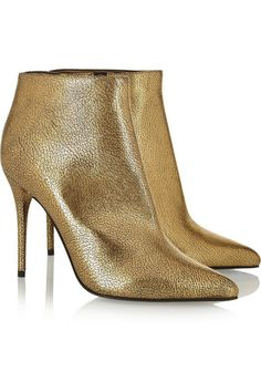 Metallic cracked-leather ankle boots by Alexander McQueen Metallic Ankle Boots, Leather Ankle Boots, Ankle Booties, Bootie Boots, Shoe Boots, Gold Boots, Metallic Leather, Metallic Gold, Gold Fashion