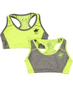 "Beverly Hills Polo Club Big Girls' ""Double Logo"" 2-Pack Sports Bras - lime, 10 - 12"