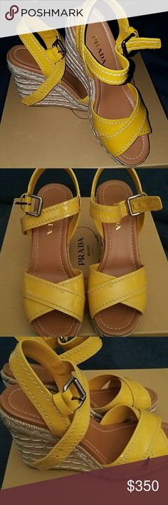 PRADA Calzature Donna Absolutely beautiful AUTHENTIC PRADA sandal in patent leather yellow. 4in heel with a  1in platform, make them super comfortable for summer!! Size 39.5. NIB, never worn, smoke free environment. Any questions feel free to ask, all offers will be considered. NO TRADES Prada Shoes Espadrilles