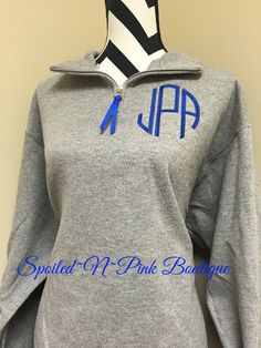 Monogrammed 1/4 Quarter Zip Pull Over by SpoiledNPinkBoutique