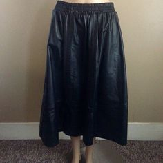 Elegance Couture Vintage Black Leather Mid-Calf Skirt, Size 20 #EleganceCouture #ALine