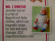 """InTouch Weekly named Magnificent Baby""""What's Hot for Moms"""" in their May 13 issue! Love the shout out to Jennifer Garner Affleck who was spotted using our Circus Burrito Onesie on son Samuel!"""