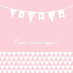 Felicitatie-Driehoek, vlag, roze - Felicitatiekaarten - Kaartje2go