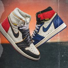 The Shoe Surgeon has just dropped his luxurious Union Air Jordan 1 Pack featuring the Union Storm Blue Air Jordan 1 and the Lux Union Black Toe Air Jordan 1 Custom Sneakers, Custom Shoes, Jordan 1, Jordan Shoes, Ella Shoes, High Top Sneakers, Sneakers Nike, Sneaker Art, Leather Collar