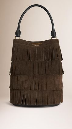 ea73683cc3503 The Bucket Bag in Tiered Suede Fringing Dark Olive
