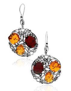 Honey & Cherry Amber Sterling Silver Earrings