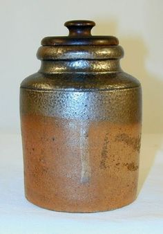 Antique Stoneware Canister Small Jar Lathe Turned Wooden Lid Southeastern PA