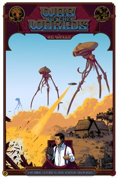 'The War Of The Worlds' prints by Arik Roper for Mad Duck Posters Fiction Movies, Science Fiction Books, Screen Print Poster, New Poster, World Radio, Classic Movie Posters, Classic Movies, World Movies, Anthology Series