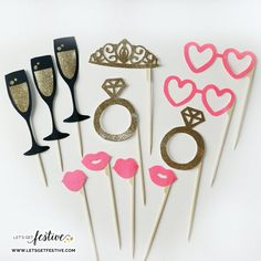 Bachelorette Party Photo Booth Props Set of 12 by LetsGetFestive Pink Bachelorette Party, Bachelorette Party Decorations, Party Favors, Spinster Party, Party Props, Photo Booth Props, Diy Wedding, Party Time, Bridal Shower