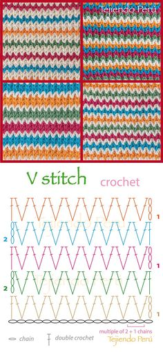Crochet: lace ripple stitch diagram (pattern or chart)! A lot of crochet video t - Hastag Stalk V Stitch Crochet, Crochet Stitches Chart, Crochet Diy, Crochet Motifs, Crochet Diagram, Love Crochet, Crochet Patterns, Point Granny Au Crochet, Confection Au Crochet