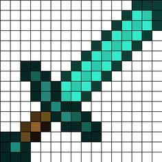 Minecraft diamond sword perler bead pattern Invest in some squared paper Perler Bead Designs, Pearler Bead Patterns, Perler Bead Art, Perler Patterns, Pearler Beads, Fuse Beads, Pixel Art Minecraft, Minecraft Quilt, Minecraft Pattern