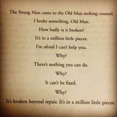 Poem from the beginning of my all time favorite book, A Million Little Pieces by James Frey.