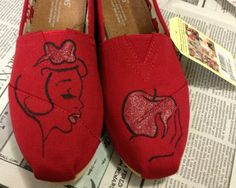 New Shoes Included - Made to Order - Classic Toms or Ballet Flats. These Toms will match my Snow White shirt perfectly. <3