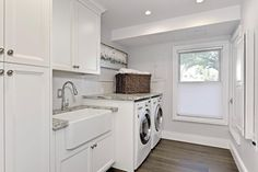 Traditional Laundry Room with Farmhouse Sink, Hardwood floors, Arabescato Venato, Blackout Cellular Shade, High ceiling Grey Laundry Rooms, Laundry Room Sink, Classic House, Modern Classic, Design Your Home, House Design, Bookshelves Built In, Home Pictures, Hardwood Floors