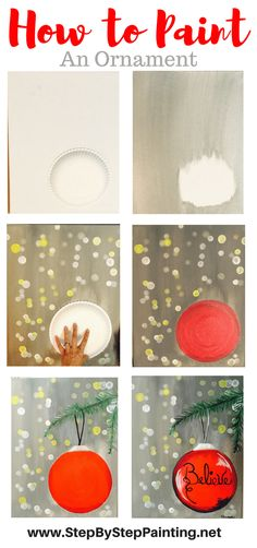 Use a paper plate to trace the ornament. This is an easy acrylic canvas painting tutorial for beginners. Learn how to paint a bright red ornament with a gray background and blurry… Canvas Painting Tutorials, Easy Canvas Painting, Winter Painting, Diy Painting, Acrylic Canvas, Acrylic Paintings, Diy Canvas, Easy Paintings, Christmas Paintings On Canvas