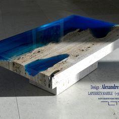 Le concept LA TABLE, est de faire d'une table une pièce unique, artistique et attractive grâce à sa réalisation, et qu'elle ressemble le plus possible à son futur propriétaire. Nous devons ces réalisations à deux autodidactes: le créateur Alexandre Chapelin qui s'est associé pour la réalisation à Patrick Lapierre. Leur travail part de la récupération de matériaux comme le bois, le métal et le marbre, qui se retrouvent sublimés au contact d'une résine d'inclusion. Le mix de ces matières...