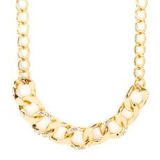 Gold Chain Links with Rhinestones Necklace